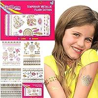 GIRLZONE TATOUAGES BRILLANTS DORÉS MÉTALLIQUES COLORÉS ENFANTS TATTOOS FLASH TEMPORAIRES Pack de 5 feuilles, 65 Designs Grand cadeau d'anniversaire petites filles CADEAUX POUR LES FILLES 4 - 12 Ans