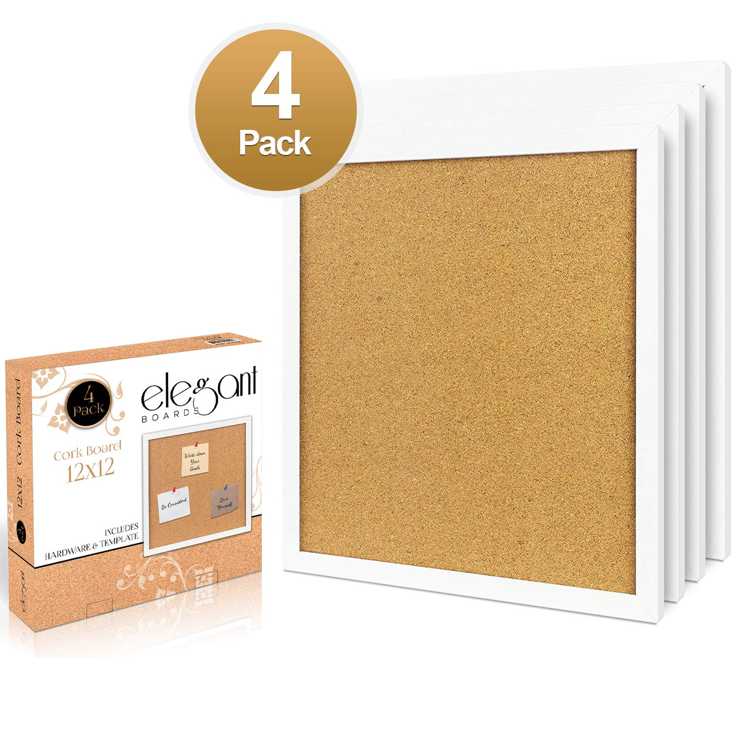 4 Pack Cork Bulletin Board 12''X 12'' Square Wall Tiles, Modern White Framed Boards for Home and Office (Hardware and Template Included) by Elegant Boards