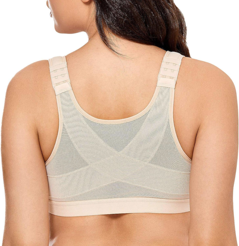 DELIMIRA Women's Full Coverage Front Closure Wire Free Back Support Posture Bra