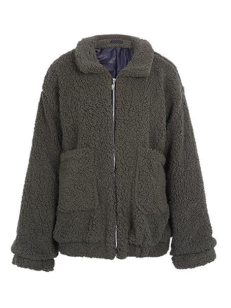 5033b5593b2 Simplee Women s Winter Warm Loose Oversized Fleece Jacket Coat Outwear Plus  Size Army Green