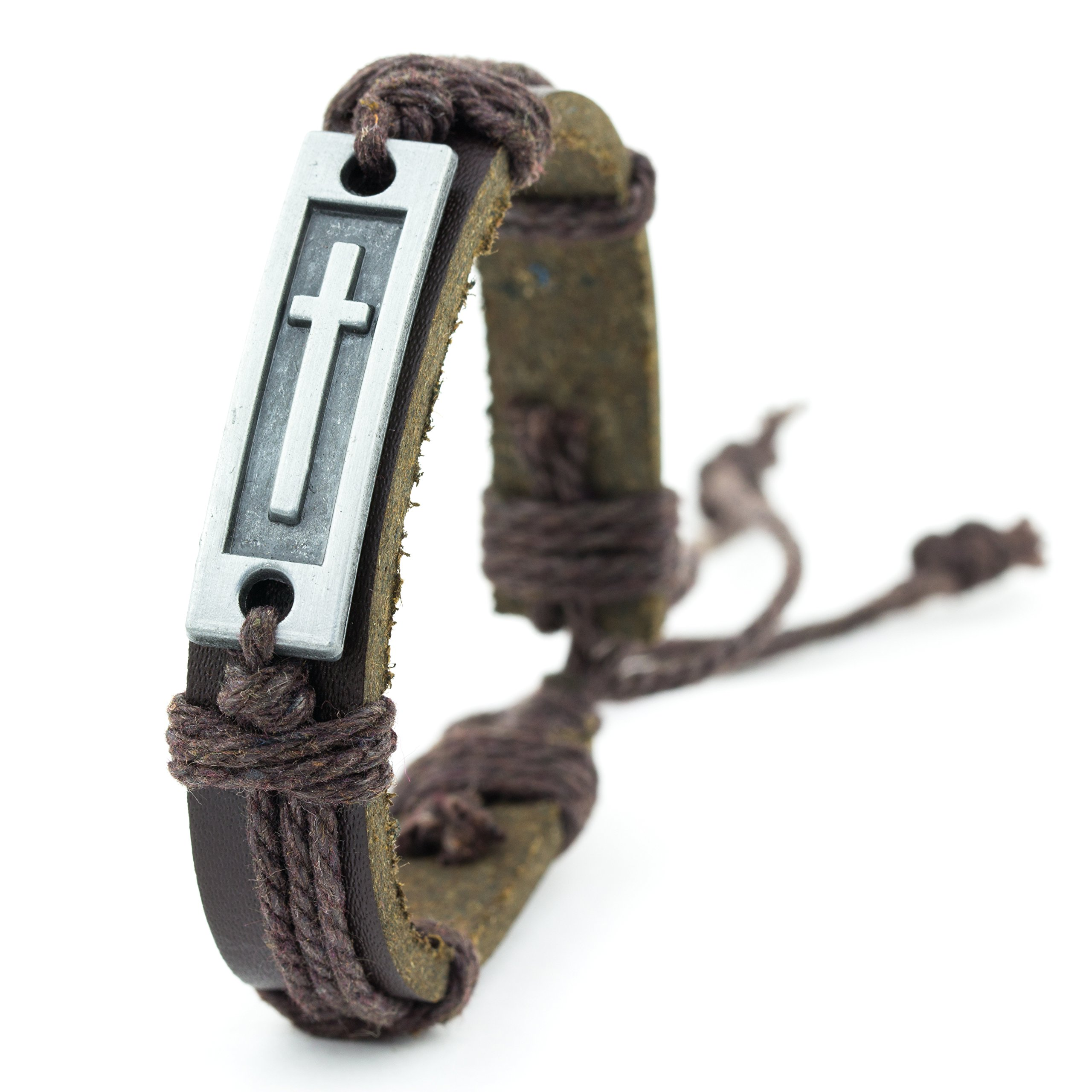 Cross Leather Bracelet for Men: Confirmation Gifts for Boys First Communion Religious Cross Statement Wrap (Brown)