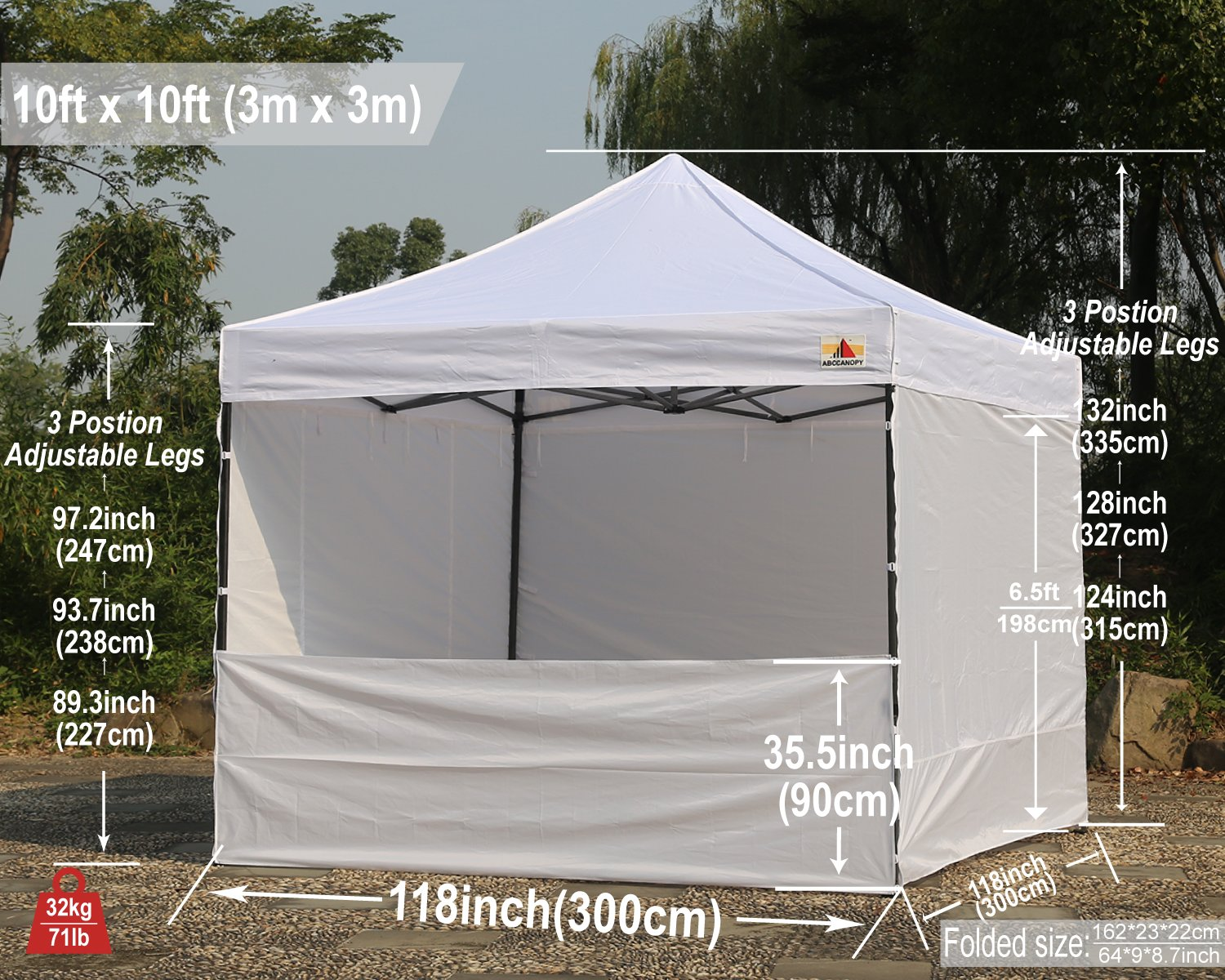 Abccanopy Deluxe 10x10 Instant Canopy Craft Display Tent Portable Booth Market Stall with Wheeled Carry Bag , Bonus 4x Weight Bag by ABCCANOPY (Image #7)