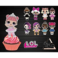 Cupcake Toppers Archivo Digital para Cupcakes, diseño de muñecas sorpresas LOL, Ideal para decoración Lol Surprise Cupcake Decorative Cupcake Topper for Kids Birthday Party Themed Party File digital