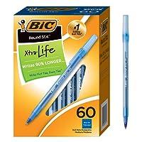 BIC Round Stic Ball Pens Stick, Blue, Medium Point, Box of 60