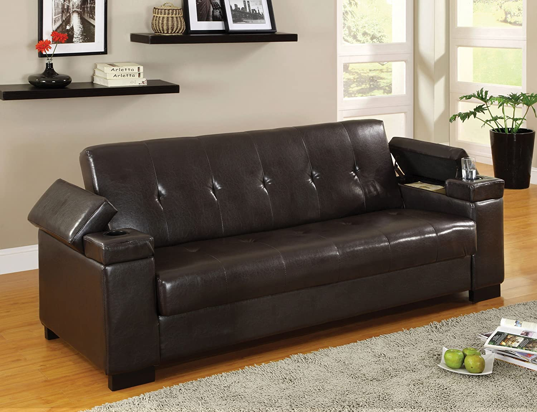 Amazon.com: Furniture Of America Leatherette Futon Sofa With Hidden  Storage, Espresso: Kitchen U0026 Dining