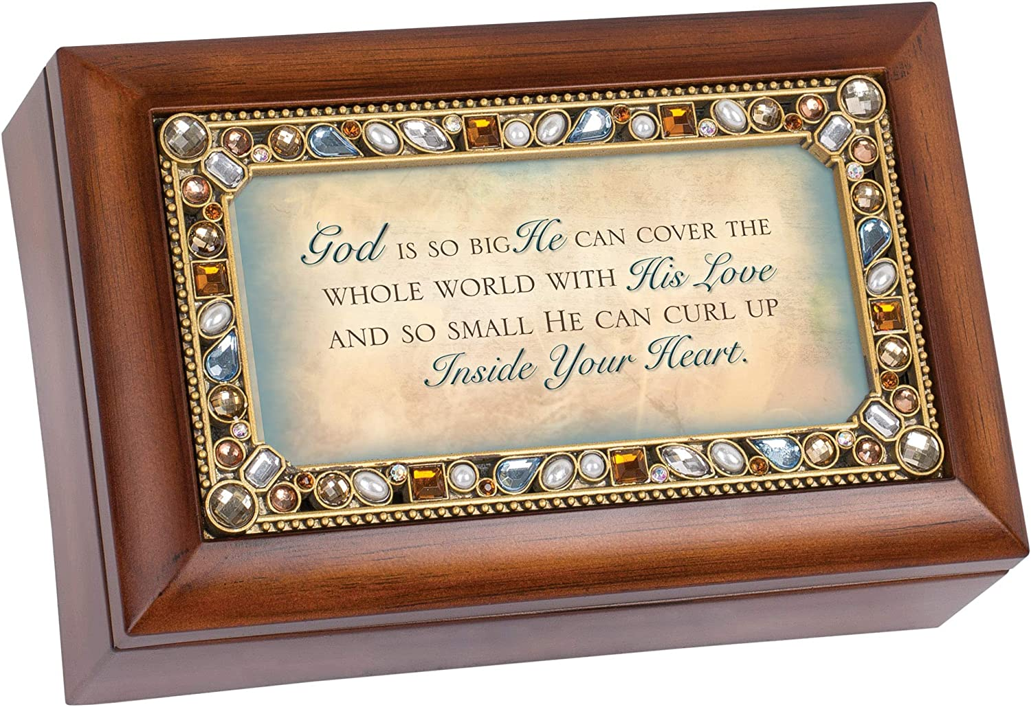 Cottage Garden God is So Big He Can Jeweled Woodgrain Jewelry Music Box - Plays Tune Amazing Grace