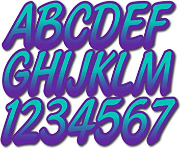 Stiffie Whipline Yellow//Blue 3 Alpha-Numeric Registration Identification Numbers Stickers Decals for Boats /& Personal Watercraft