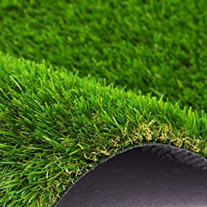 AYOHA 7 FT x 80 FT Artificial Grass, Realistic Fake Grass Deluxe Synthetic Turf Thick Lawn Pet Turf, Indoor/Outdoor Landscape, Easy to Clean with Drain Holes, Non-Toxic, High Density, 35mm