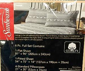 Sunbeam Super Soft Alpine Deer Cotton Flannel Full Sheet Set with Deep Pocket and 4 Standard Pillowcases, (6 Piece Full Set)