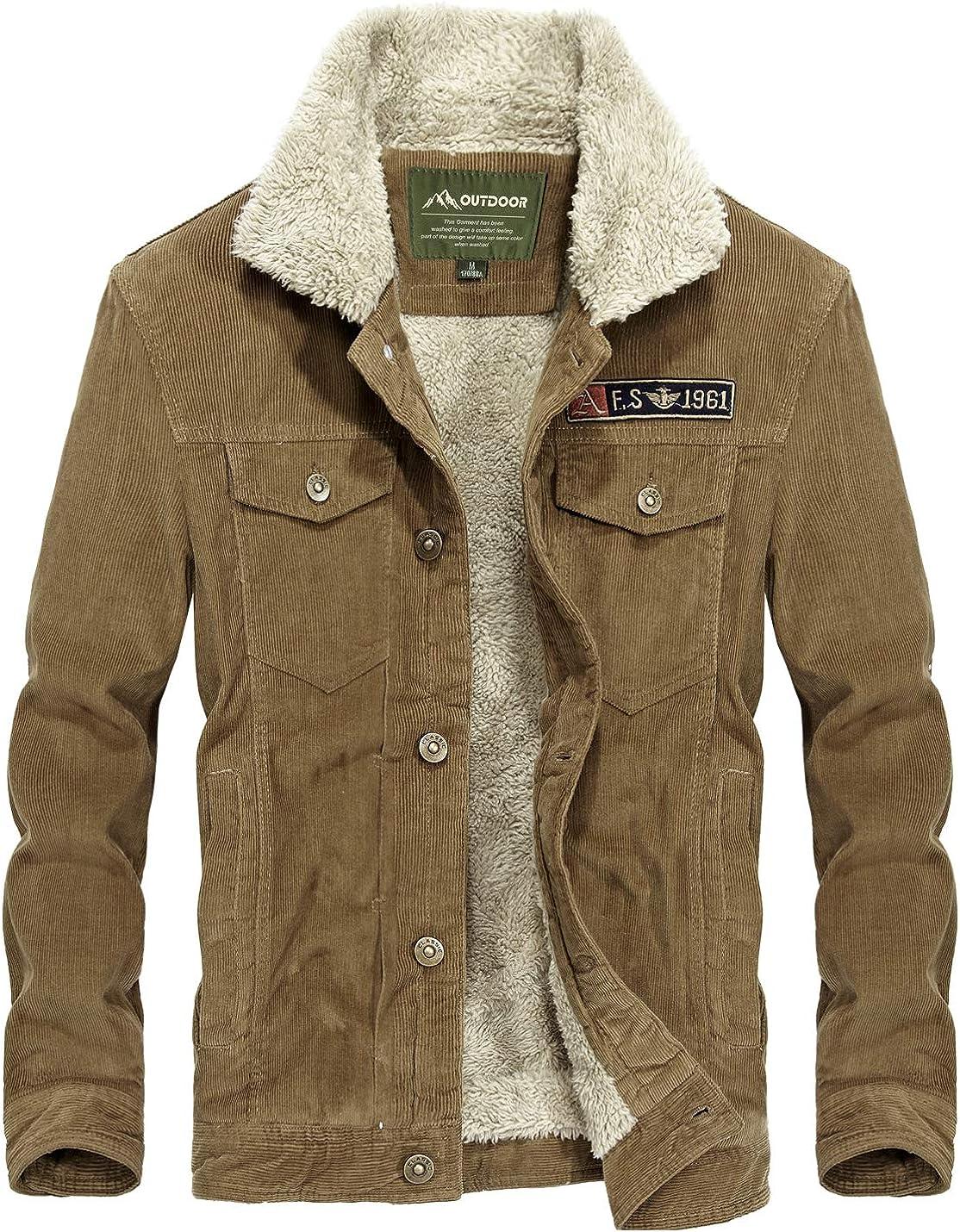 Flygo Mens Vintage Button Down Slim Fit Fleece Lined Corduroy Jacket Outerwear