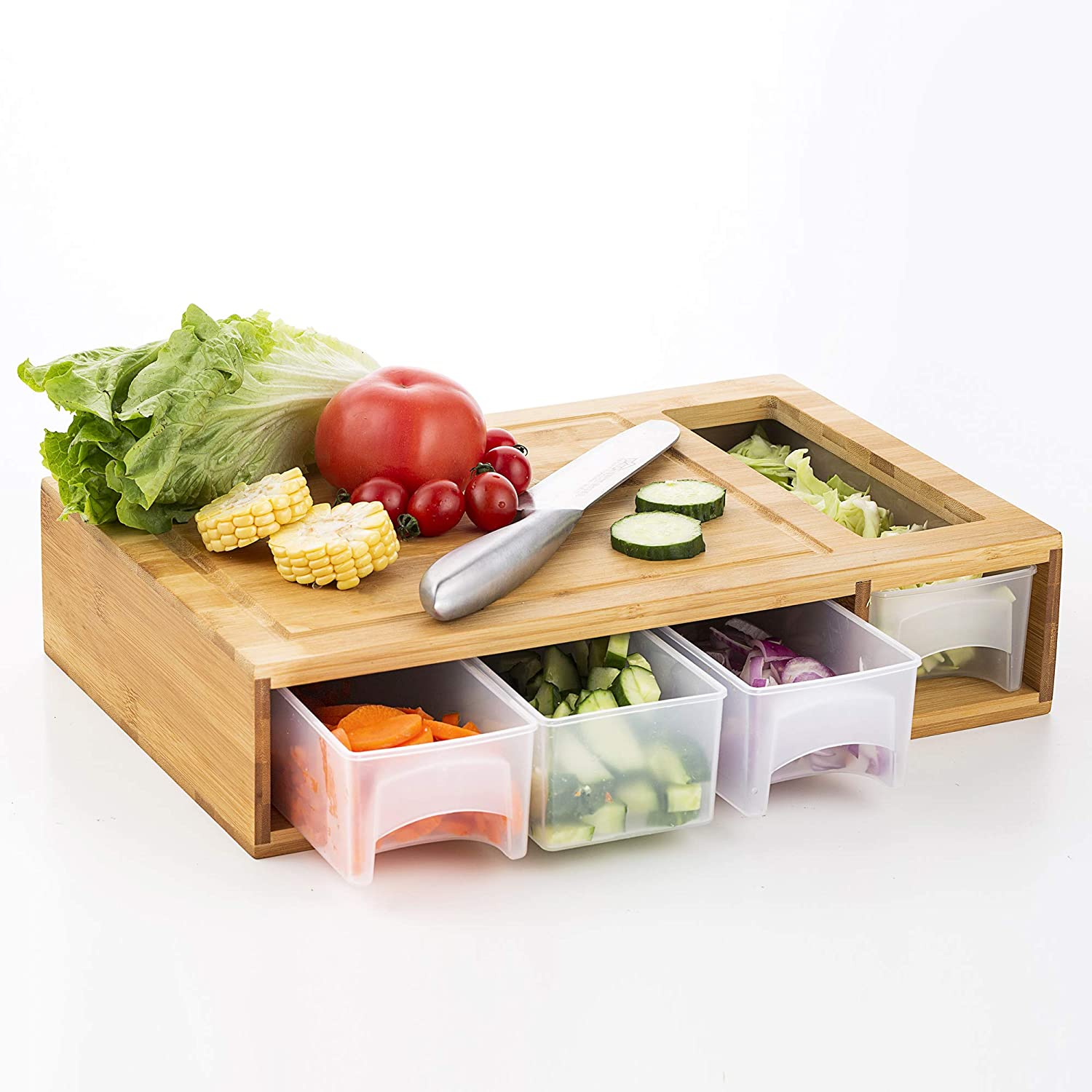 Bamboo Wooden Cutting Board with 4 Container Drawers For Kitchen, Cooking, Food Preparation, Serving, Chopping