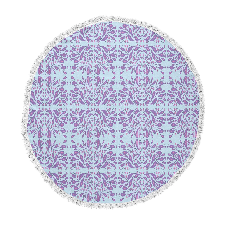 Kess InHouse Rosie Brown Bloom Blue Purple Mixed Media Round Beach Towel Blanket