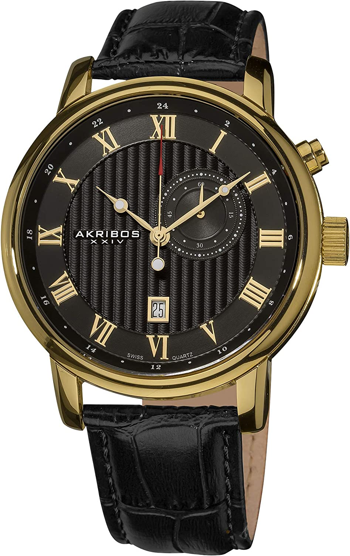 Akribos XXIV Men s AK595YG Swiss Leather Strap Date Watch