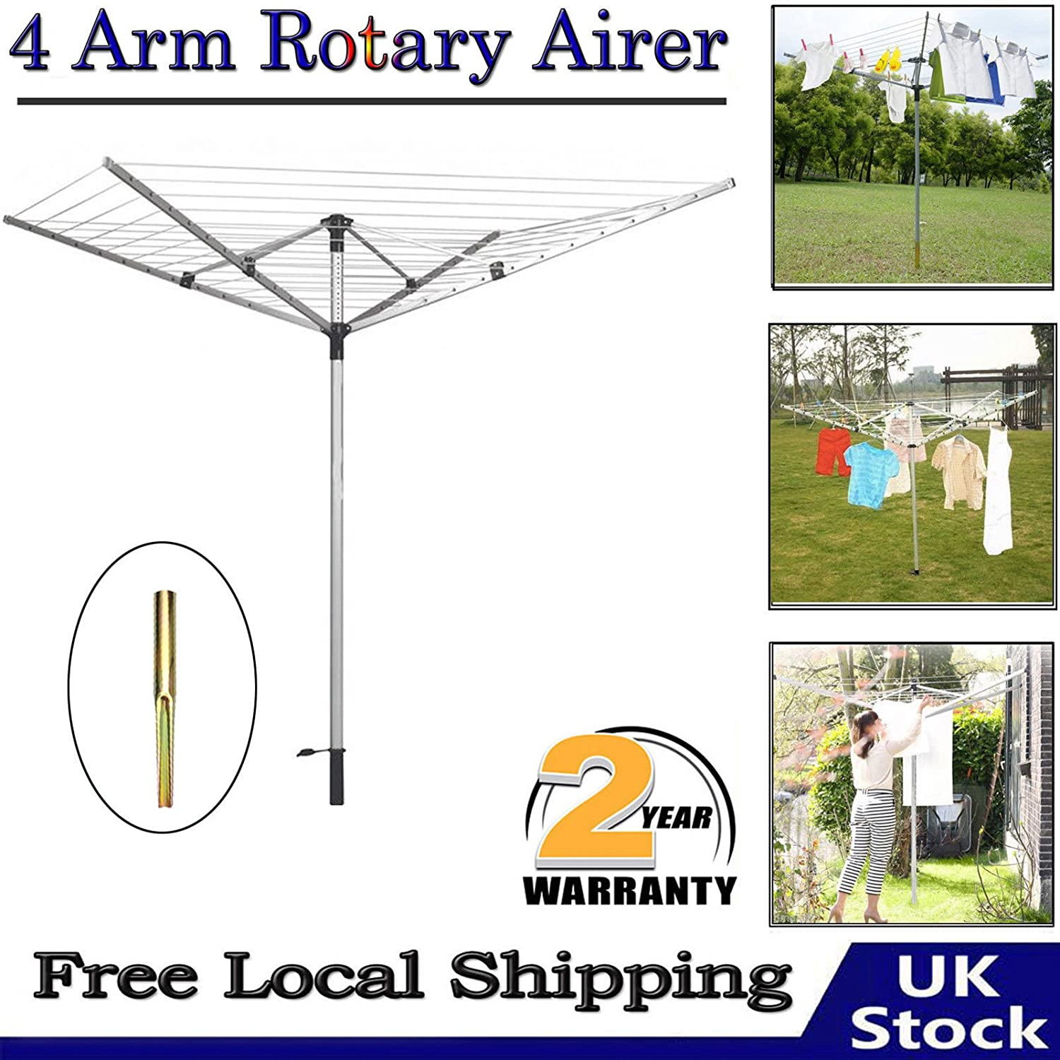 AutoBaBa Durable Rotary Washing Line Clothes Airer Dryer Rack Adjustable Laundry 4 Arm UK
