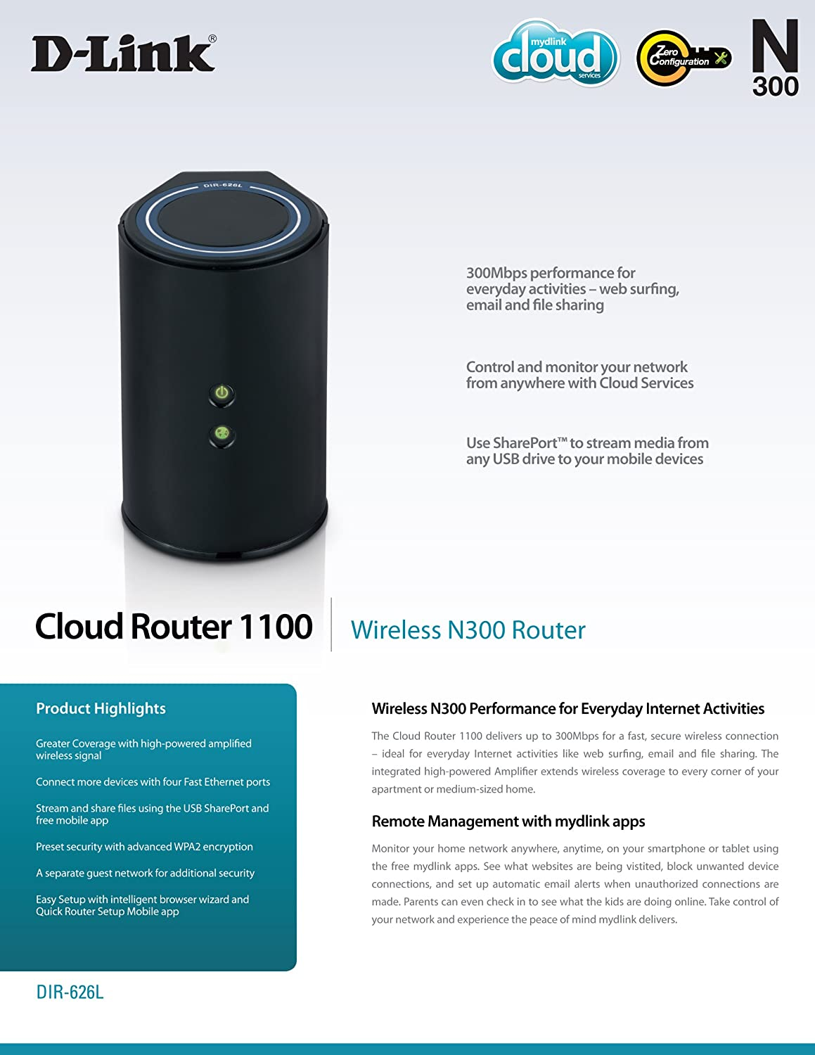 D-Link Wireless N 300 Mbps Home Cloud App-Enabled Broadband Router  (DIR-626L)