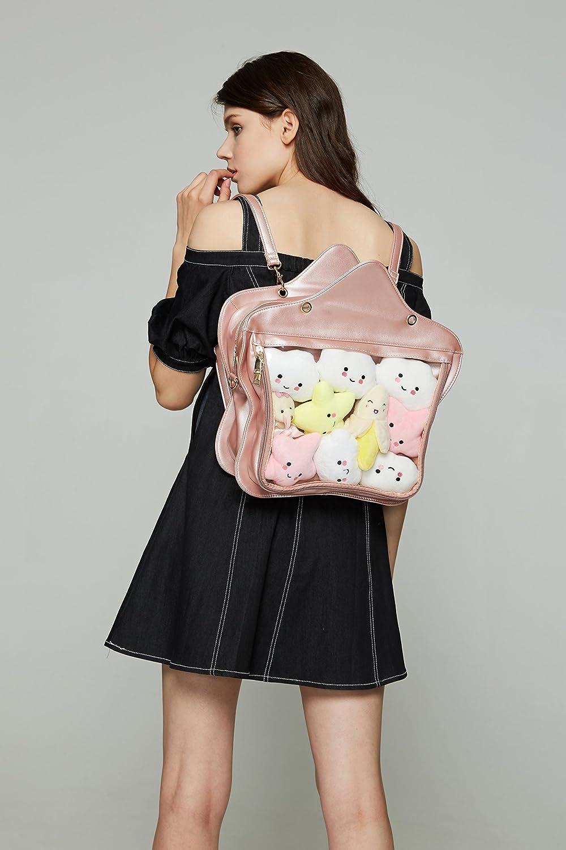 Fascinating Clear Candy Leather Handbag Kawaii Purse Transparent Backpacks Star Crossbody Bags Lolita Ita Bag