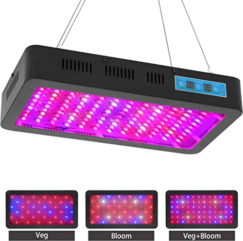 Tektalk Plant Grow Light 1200W with 120 Double Chips LED Lights Full Spectrum Timing Three Light Modes Veg Bloom and Three High Speed Silent Fans Daisy Chain Function