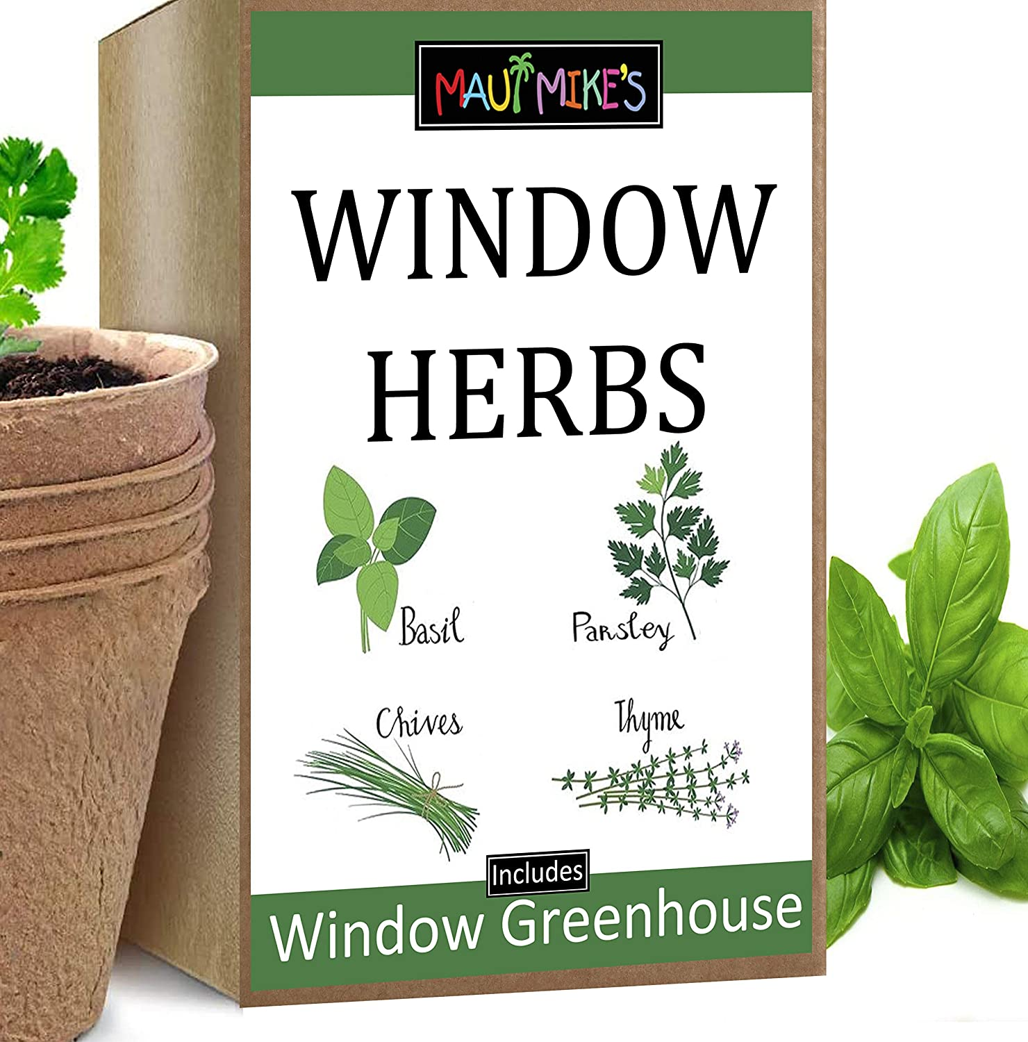 Maui Mike's Window Herb Indoor Growing Kit. Includes Soil Pellets, Seeds, Peat Pots, Greenhouses and Instructions. Grow Your own Basil, Chives, Parsley and Thyme Herbs.