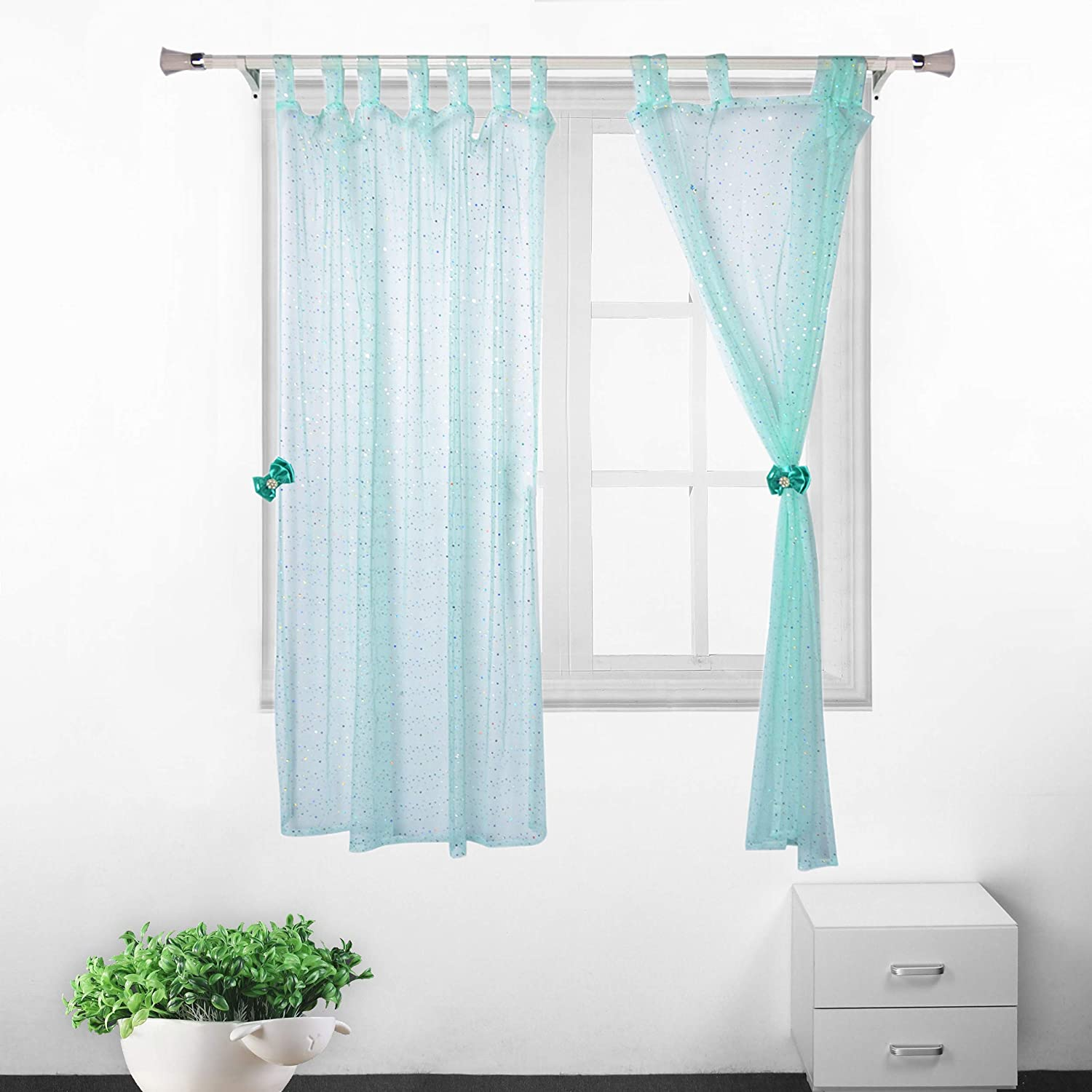 Amazon Com Mint Green Sequins Tulle Curtains Sheer Mesh 2 Panels