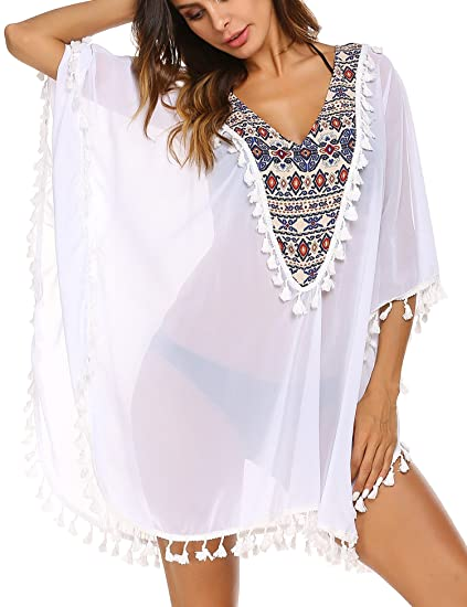 e19e0c5ef4 Teewanna Womens Solid Oversized Beach Cover Up Swimsuit Bathing Suit Beach  Dress( White S)