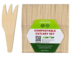 Disposable Wooden Forks, Spoons, Knives Set - Alternative to Plastic Cutlery - Biodegradable Replacements (100 Knives)