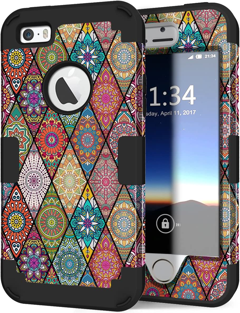 Hocase iPhone SE 2016 Case, iPhone 5s Case,Heavy Duty Shockproof Hard Plastic+Silicone Rubber Bumper Dual Layer Full-Body Protective Case for iPhone SE 1st Generation/5s/5 - Mandala/Black