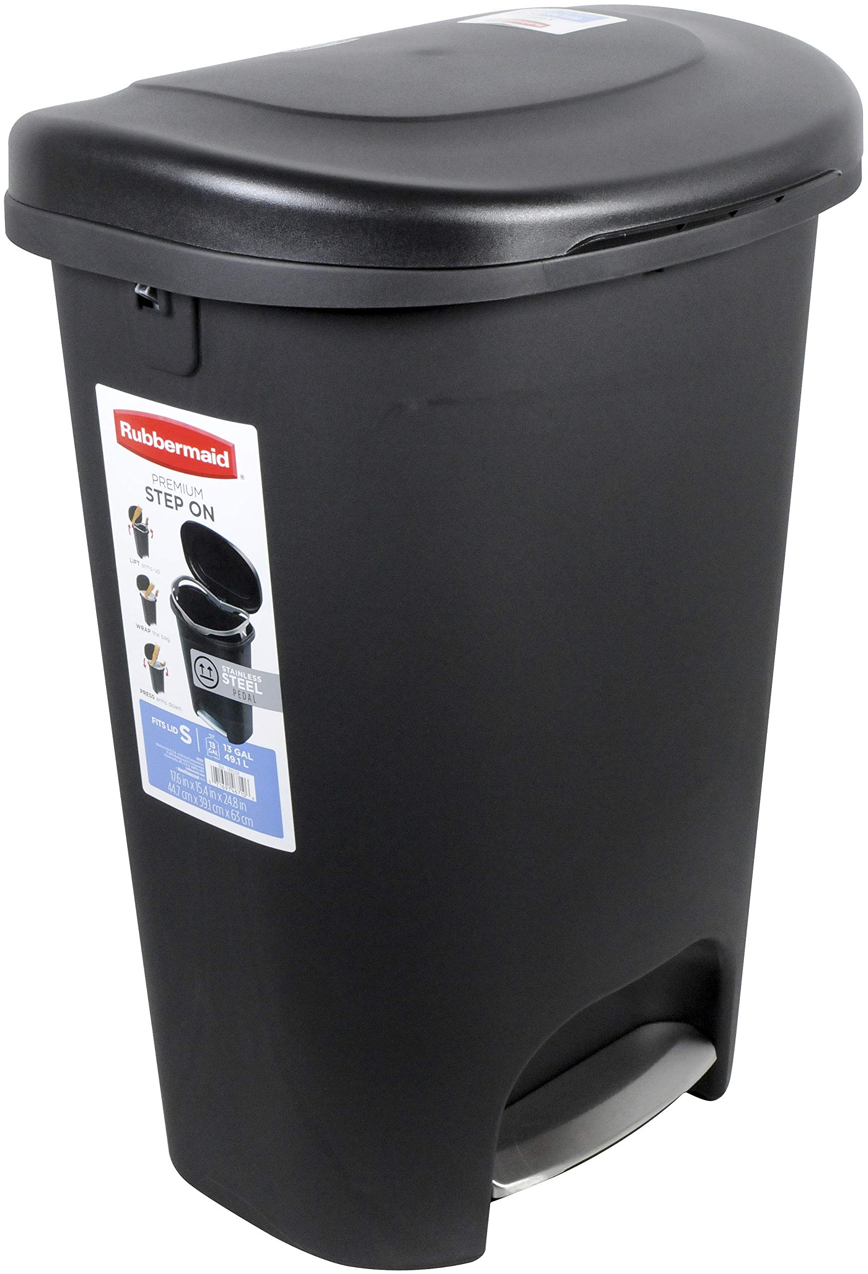 Rubbermaid Step-On Lid Trash Can for Home, Kitchen, and Bathroom Garbage, 13 Gallon, Black by Rubbermaid