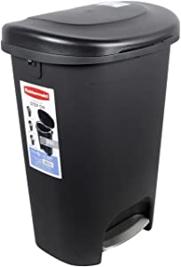 Rubbermaid 2007867 Step-On Lid Trash Can for Home, Kitchen, and Bathroom Garbage, 13 gallon, Black
