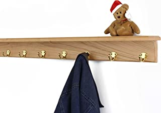"product image for Solid Cherry Shelf Coat Rack with Solid Brass Single Style Hooks (Natural, 37"" with 7 hooks)"