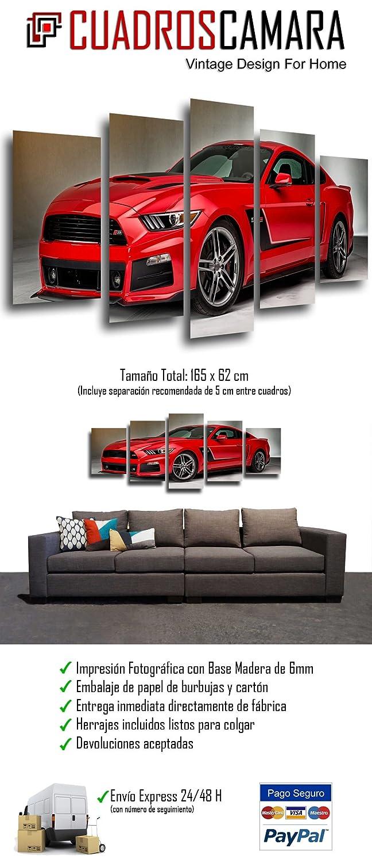 Voiture Mustang Rouge ref Cuadros Camara Tableau Moderne Photographique 165 x 62 cm 26331 Impression sur Bois