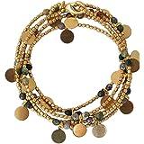 "NOVICA Gold Plated Brass and Jasper Stone Beaded Wrap Charm Bracelet, 36"", 'Forest Suns'"