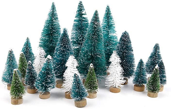 Goldenlight 27Pcs Sapin de Noel Miniature Arbre de No/ël Artificiel Mini Vert et Blanc Bleu Turquoise Mixte Decoration de Table Int/érieur Chambre Maison