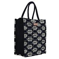 ECOTARA Eco-Friendly Jute Multipurpose Gift Bag with Zipper and Bottle Holder (Black, 29x25x1.5 cm)