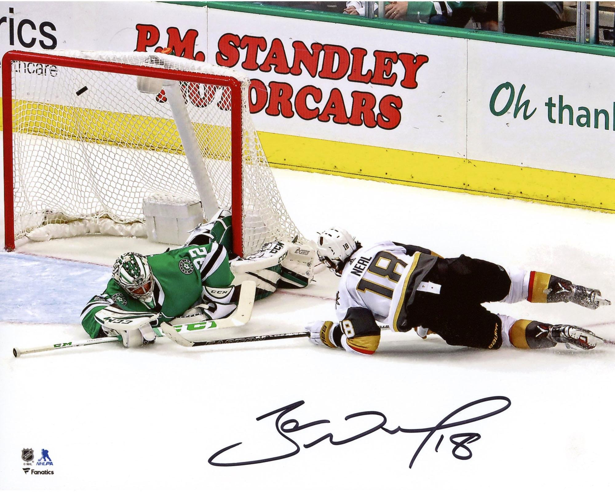 """James Neal Vegas Golden Knights Autographed 8"""" x 10"""" First Franchise Goal Photograph Fanatics Authentic Certified"""