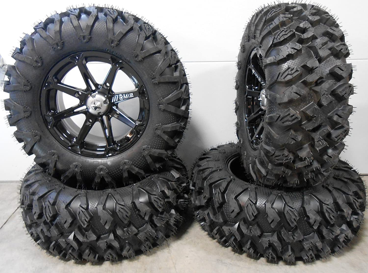 Bundle - 9 Items: MSA Black Diesel 14' ATV Wheels 27' EFX MotoClaw Tires [4x156 Bolt Pattern 12mmx1.5 Lug Kit] Multiple