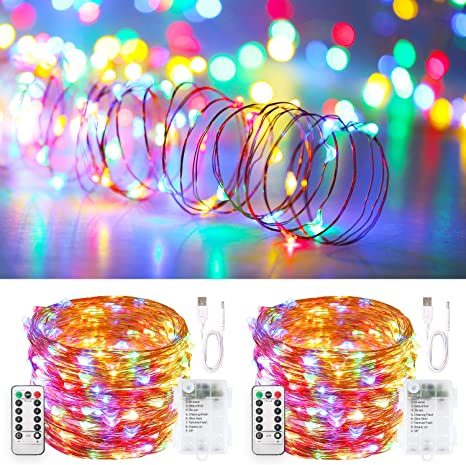 Battery Twinkle LED Fairy String Lights Christmas Tree Bedroom With Remote Timer
