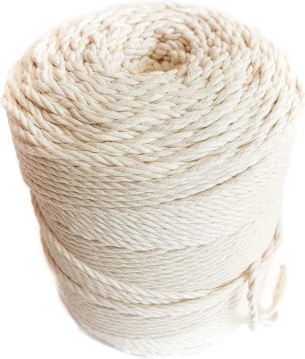 Cuerda de algodón natural de 4 mm con cuerda de macramé de 0,16 ...