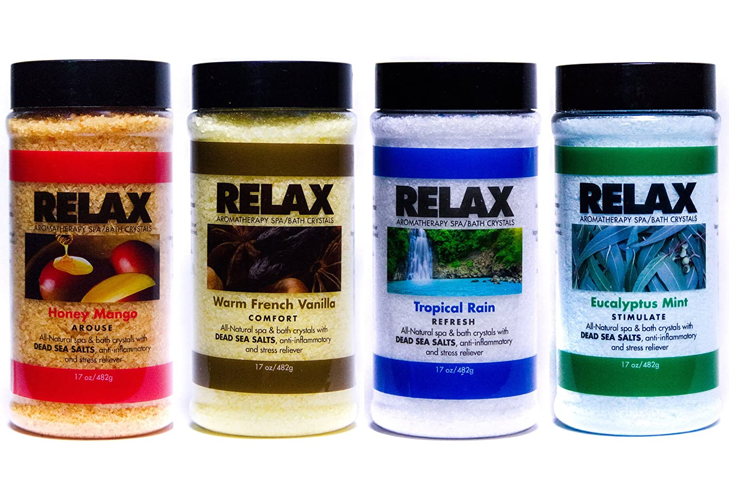 Original Relax Aromatherapy Best Bath Salts, Pack of 4, 17 Ounce Bottles, All Natural Epsom Mineral Salts, Safe for Hot Tubs, Spas, Baths, and Jacuzzi