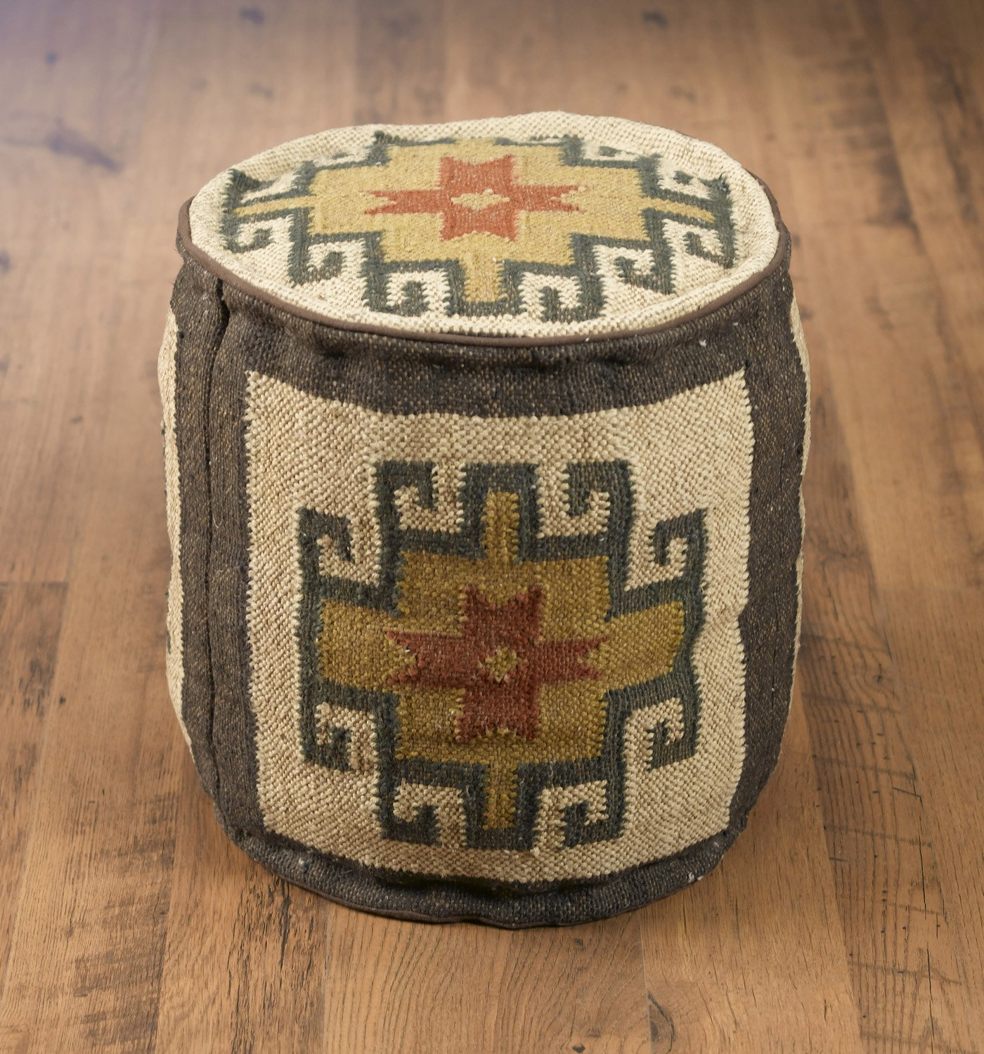 Wool Ottomans Aa Importing 48842 Round Kilim Pouf 17 X 17 X 17 Inches Multicolored Model # 48842