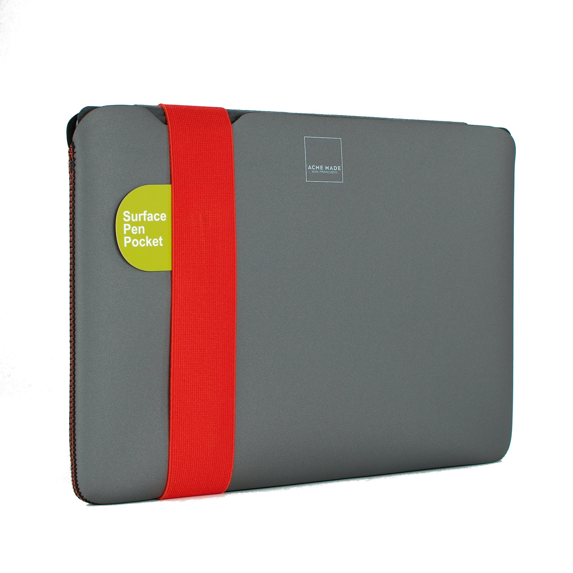 """Acme Made Skinny Sleeve Ultra-Thin Padded Case with Stylus Pocket for 11""""-12""""-13"""" Laptops and Tablets StretchShell Neoprene (XS) (Grey/Orange) AM10521"""