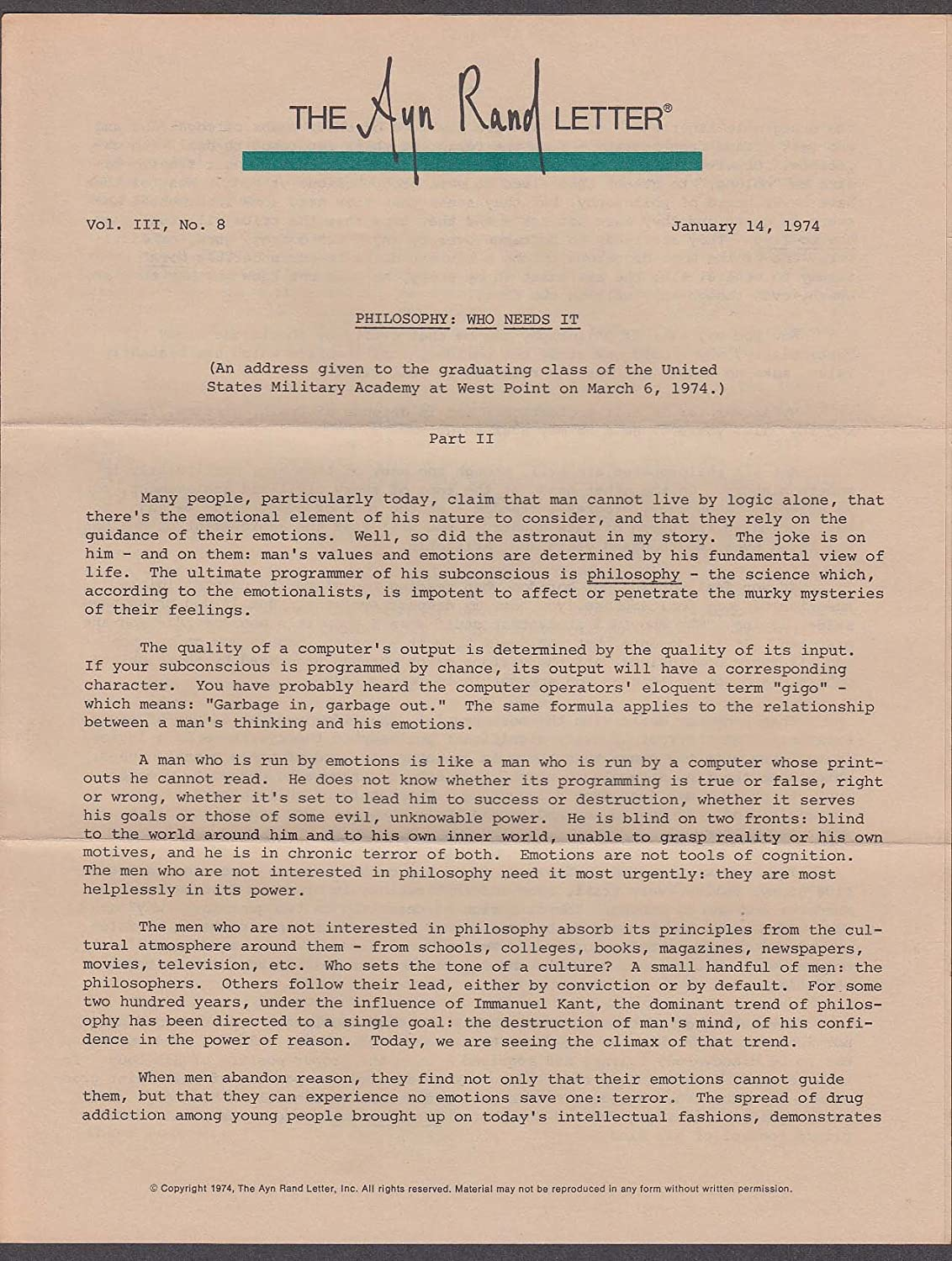 Ayn Rand Letter Vol 3 #8 Philosophy: Who Needs It Part II 1/14 1974 at  Amazon's Entertainment Collectibles Store
