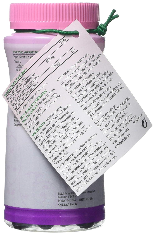 Natures Bounty Cran-Max® Arándano Rojo 500 mg Gummies. Extracto d - 60 unidadese 500 mg del fruto entero de arándano rojo, con vitamina C, que refuerza el ...