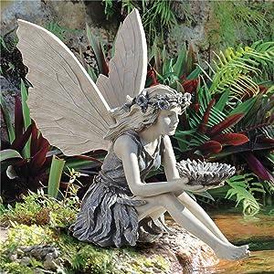 Angel Figurines Decor Angel Garden Sculpture Decor Garden Lawn Yard Art Outdoor Decorations (14.5x5.5x16cm)