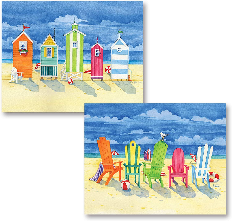 Fun, Colorful Brighton Huts and Adirondack Chairs; Coastal Decor; Two 14x11 Poster Prints