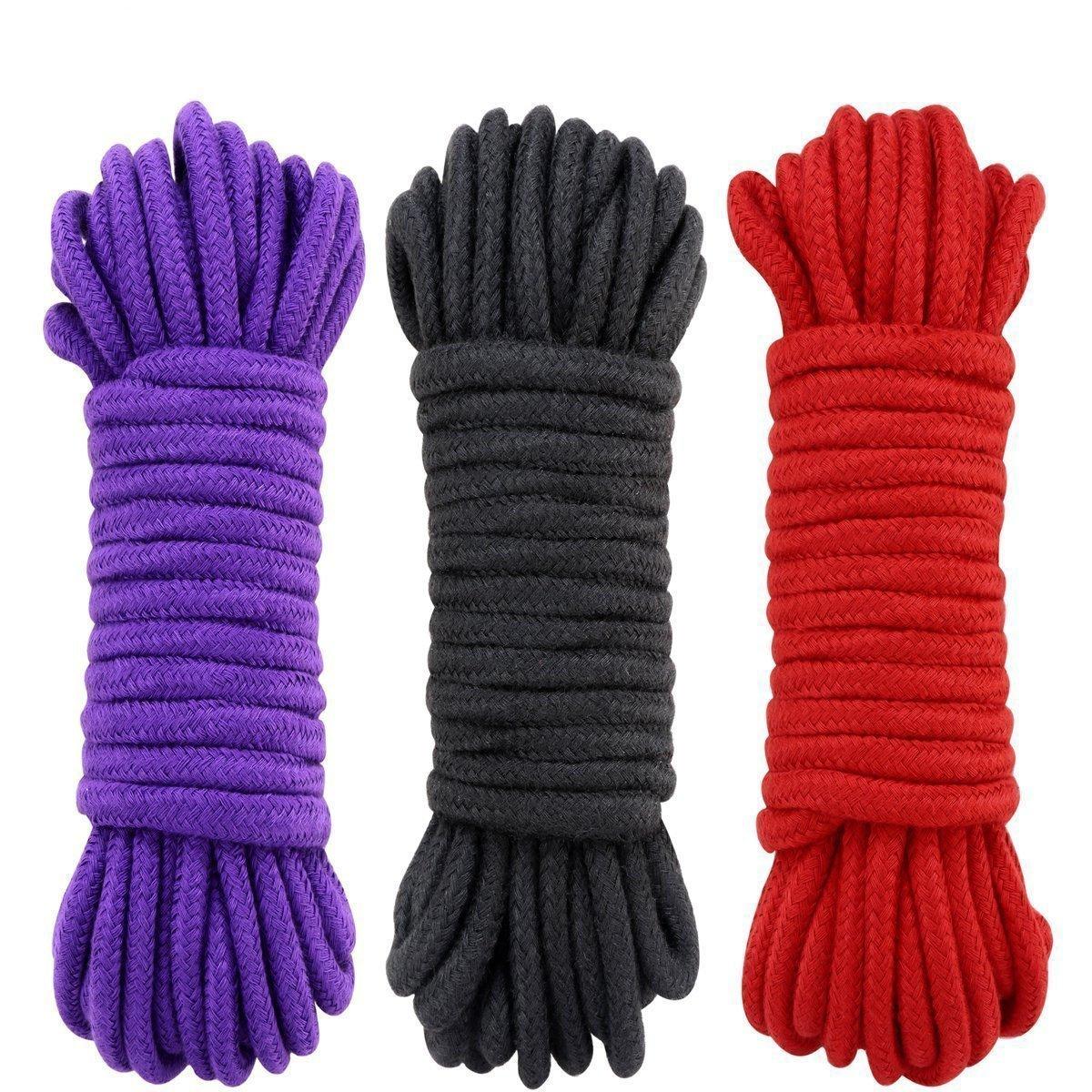 UWIME Baumwollseil, Allzweckweiches Seil, das natü rliches dauerhaftes Seil bindet, umsponnene Baumwollstarke Multifunktionsseil-lange Bü gel (3 Satz schwarz)