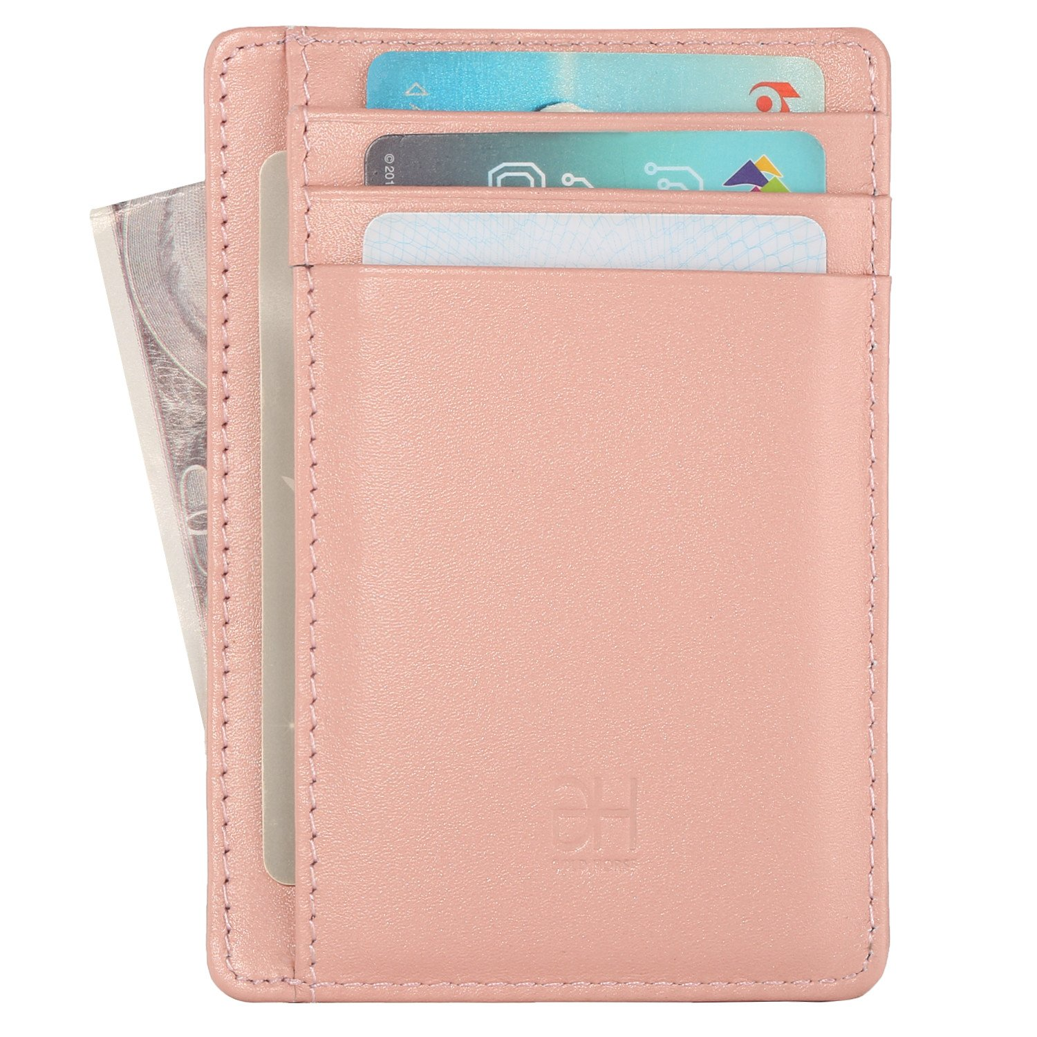 GH GOLD HORSE Slim RFID Blocking Card Holder Minimalist Leather Front Pocket Wallet for Women