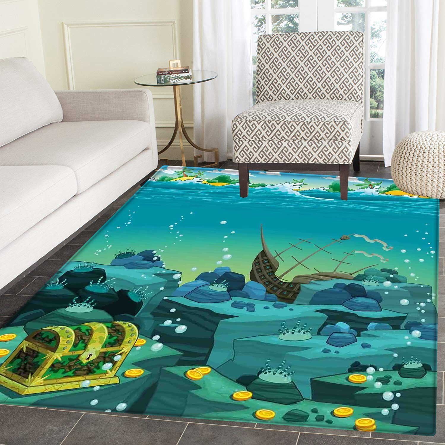 Amazon Cartoon Rugs for Bedroom Seascape Underwater with