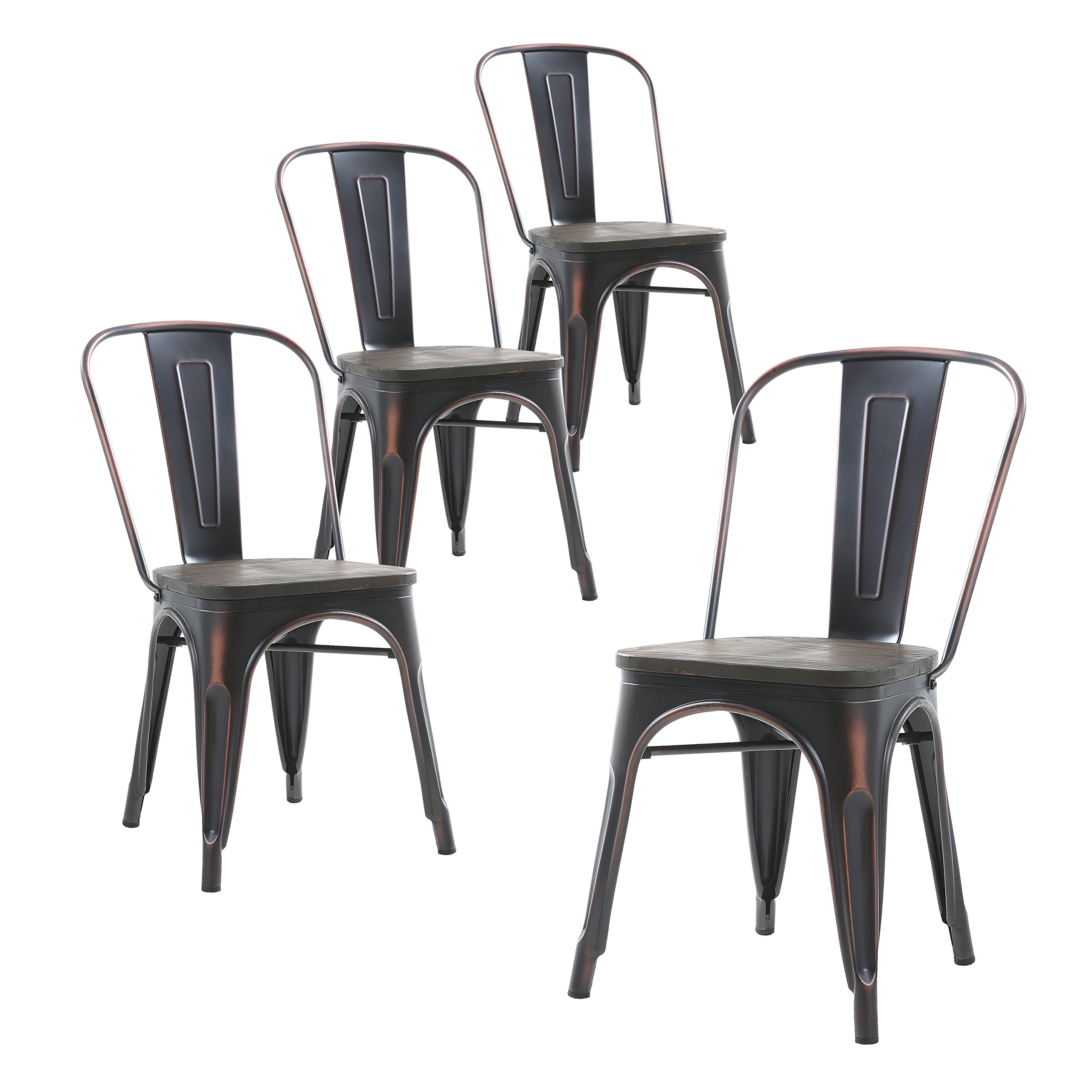 Buschman Set of Four Distressed Black Wooden Seat Tolix-Style Metal Indoor/Outdoor Stackable Chairs with Back