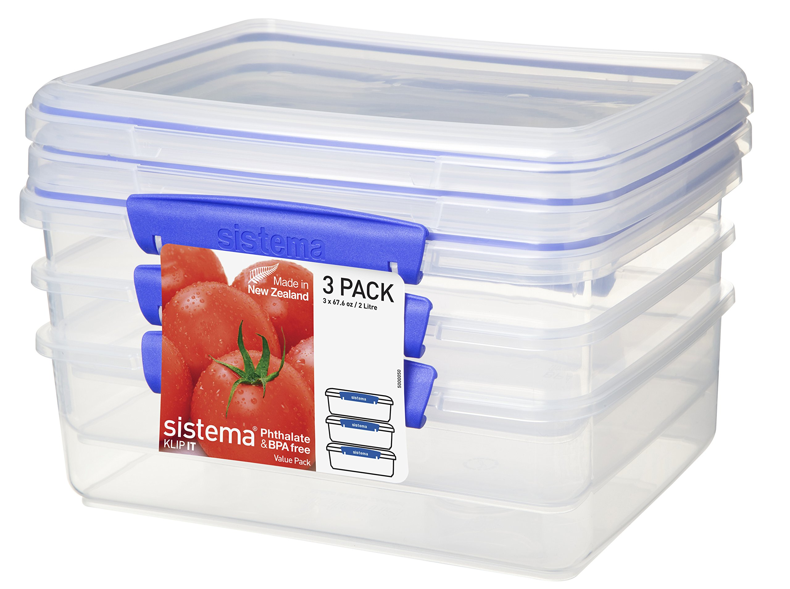 Sistema Klip It Collection Rectangle Food Storage Containers 67 ounce/ 8.4 Cup each, Set of 3 (1723)
