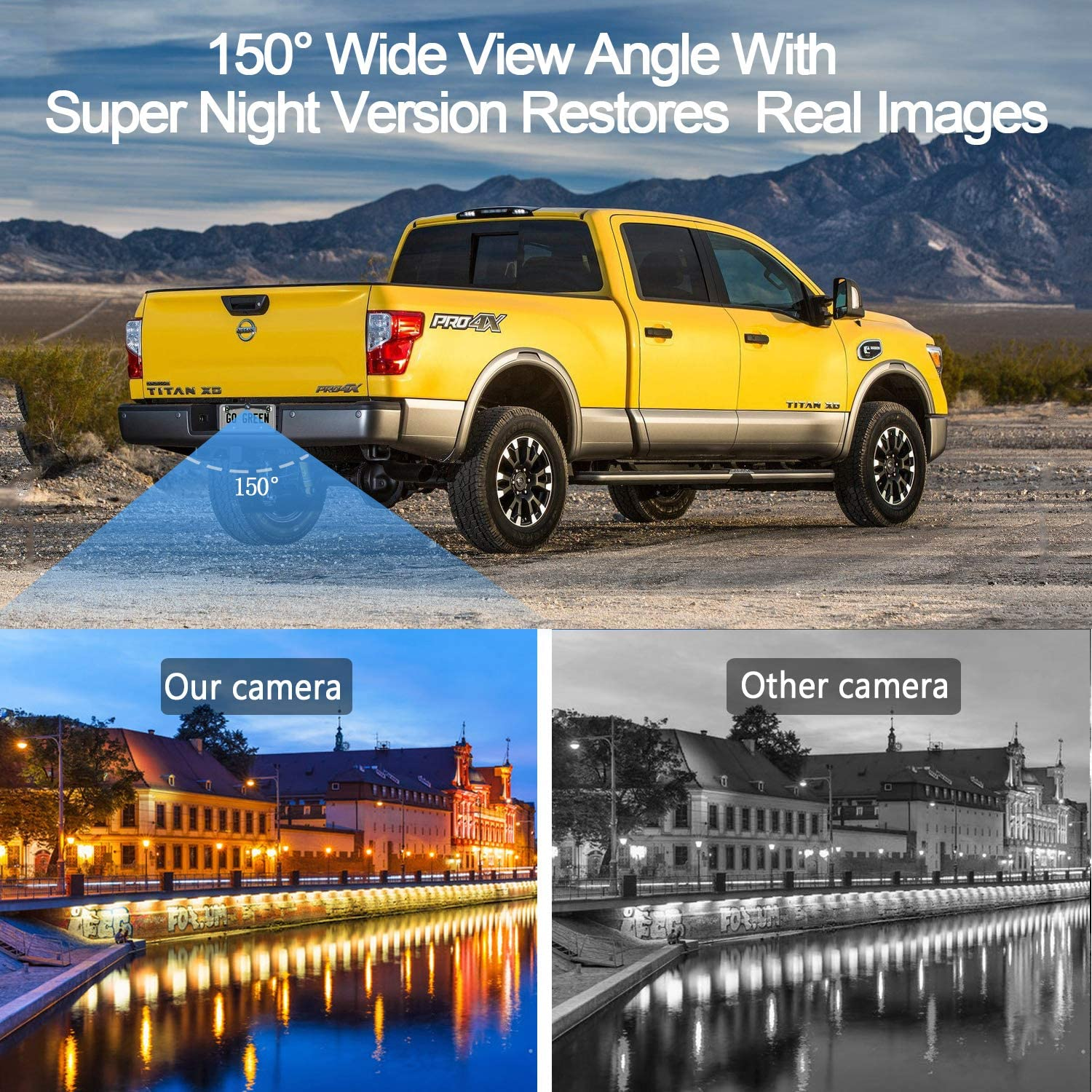 Amtifo HD 1080P Digital Wireless Backup Camera System with 5 Monitor for Cars,Pickups,Trucks,Small RVs,Campers,Rear//Front View,Guide Lines On//Off,IP69 Waterproof